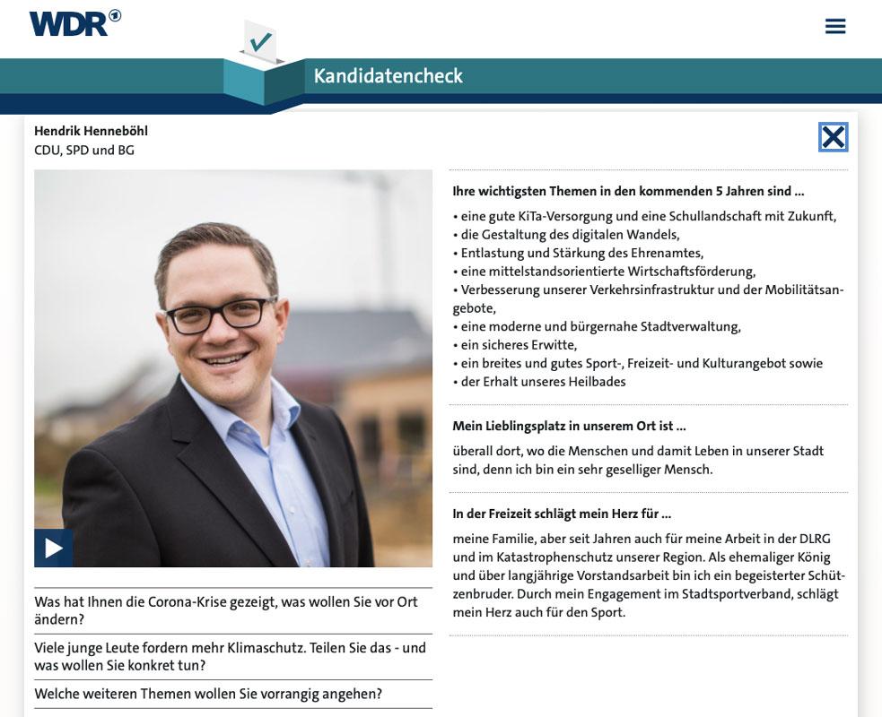 Hendrik Henneböhl im WDR Kandidatencheck